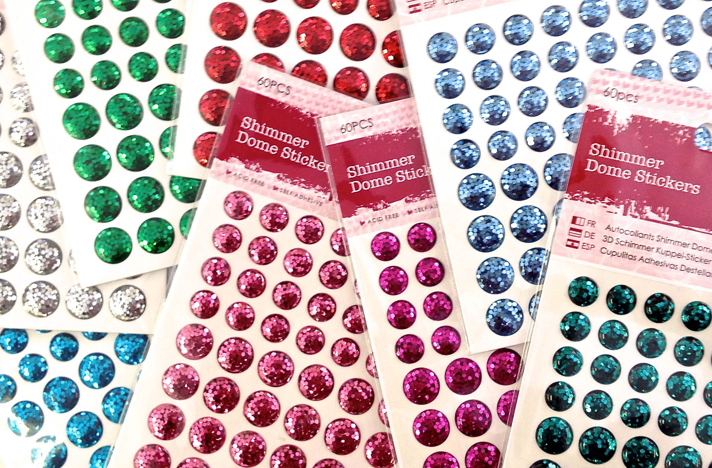 Shimmer Dome Stickers 60pcs Red