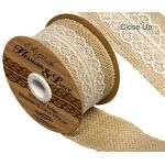 Woven Edge Hessian & Lace Ribbon