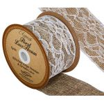 Floral Lace Hessian Ribbon