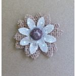 Large Burlap & Fabric Flowers - Pack of 2