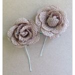 Large Burlap Flowers - Pack of 2