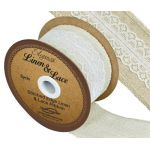 Stitched Edge Linen & Lace Ribbon