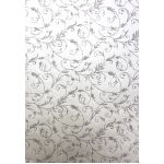 Silver Glitter Flourishes on Pearlescent off White Paper A4