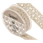 Eleganza Guipure - 25mm Open Lace Satin Ribbon - Vintage (10m ROLL)