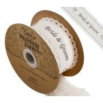 38mm Eleganza Cotton Lace Edge - Bride & Groom Ribbon (4m ROLL)