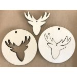 Wooden Christmas Decoration - Stags Head