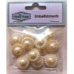 Flat Backed Pearl Medallion - Ivory 18mm