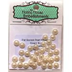 Flat Backed Pearl Medallion - Ivory 8mm