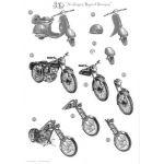 Monochrome Die Cut 3D Card - Classic Bikes
