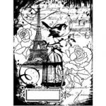 Stampendous Cling - Eiffel Collage