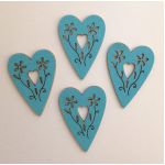 Painted Wooden Hearts - Turquoise