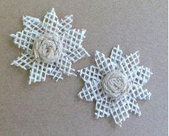 Open Weave Hessian Flowers - Pack of 2