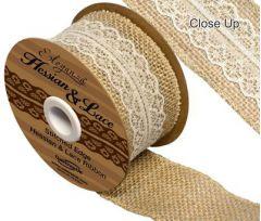50mm Woven Edge Hessian & Ivory Lace Ribbon - 4.5m ROLL