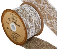 50mm Wide Floral Lace Hessian Ribbon - 4.5m ROLL