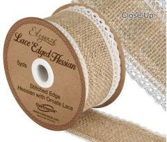 50mm Natural Lace Edge Hessian - 4.5m ROLL