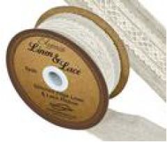38mm Linen & Lace Stitched Edge Ribbon - 4.5m ROLL (No: 61)