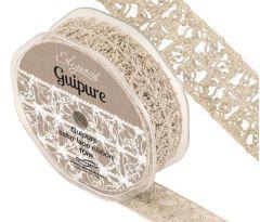 Eleganza Guipure - 25mm Open Lace Satin Ribbon - Vintage (10m ROLL)