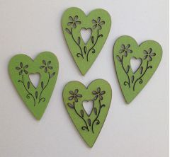 Painted Wooden Hearts - Lime