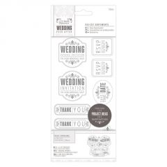 Wedding Mixed - Die Cut Sentiments - Silver - Papermania Wedding Collection