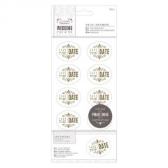 Wedding Date - Die Cut Sentiments - Gold - Papermania Wedding Collection