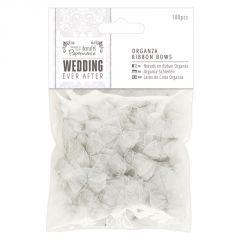 Organza Ribbon Bows (100pcs) - Silver - Papermania Wedding Collection