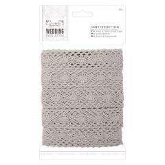 10m Jumbo Crochet Trim - Silver - Papermania Wedding Collection