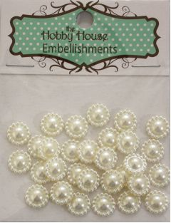 Flat Backed Pearl Medallion - Ivory 11mm
