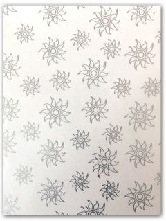 A4 Handmade Paper - White with Silver Glitter Sun Pattern