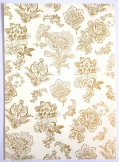 Artoz A4 Cream & Gold Paper - Flowers Embroidery Gold