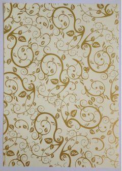 Artoz A4 Cream & Gold Paper - Leaves & Tendrils