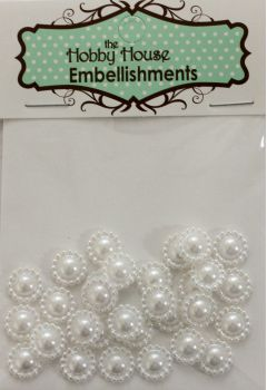 Flat Backed Pearl Medallion - White 11mm