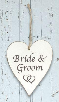Wooden Heart - Bride & Groom