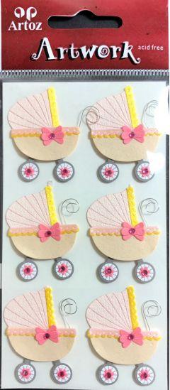 Baby Pram - Pink - Artwork 3D Toppers