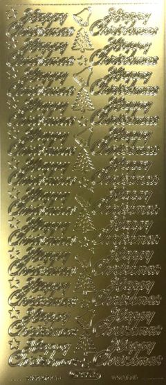 Happy Christmas - Tree/Bell Down Middle (Peel Offs - Christmas Wording)