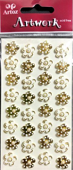 White & Gold Mini Flowers - Artwork 3D Toppers