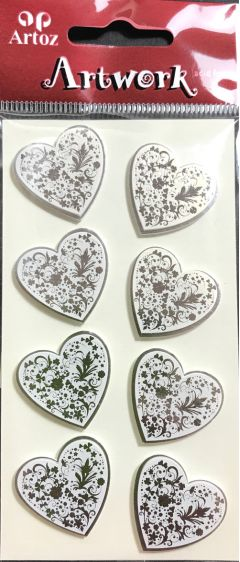 Silver Foiled Hearts - Artwork 3D Toppers